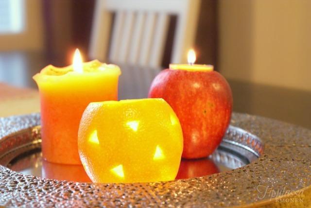 hedelmäkynttilät, omenatuikkukippo, appelsiinilyhty