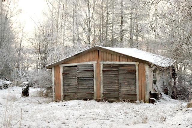 talvi, luontokuva, vanha varasto