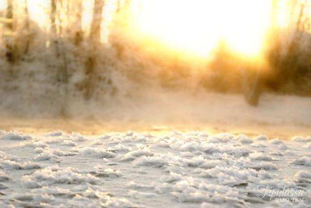 talvi, luontokuva, koski